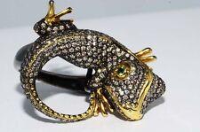 $19,900 2.95CT NATURAL TSAVORITE, SAPPHIRE & COGNAC DIAMOND GECKO RING 18K