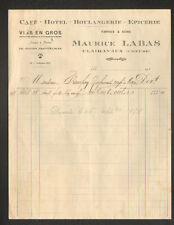 """CLAIRAVAUX (23) HOTEL BOULANGERIE EPICERIE & Négociant VINS """"Maurice LABAS"""" 1938"""