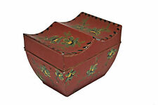 Antique Painted Red Toleware Tea Caddy. Dutch.