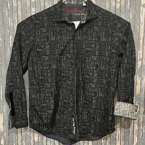 Robert Graham Limited Edition Flip Cuff Button Up Shirt Black Mens Size XL