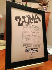 "Framed Original & Rare Neil Young ""Zuma"" Lp Album Cd Promo Ad"