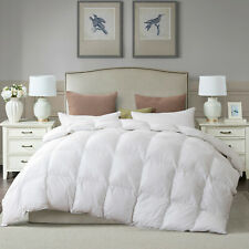 "Pure White Goose Down Feather Comforter Non-Microfiber Queen 90x90"" Lightweight"