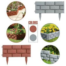 More details for plastic brick effect lawn garden grass edging skirting border picket in 2 colour