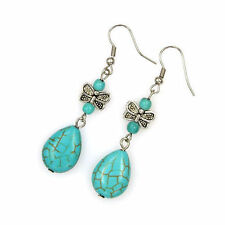 Cute New Tibetan Silver Turquoise Teardrop & Butterfly Bead Dangle Drop Earrings