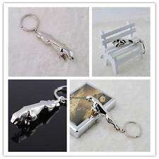 New Creative 3D Jaguar Car logo Keychain Silver Metal Alloy Keyring Keyfob Gift^