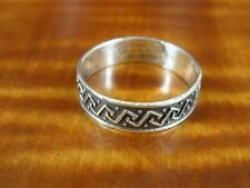 Elbow Line Pattern Band Sterling Silver 925 Ring Size 8 1/2