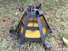 Vintage mid century Iron Gothic hanging Light Fixture stained Glass Lantern swag