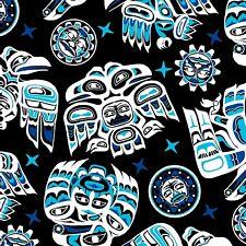 Fabric Native American Tribal Symbols Blue Black on Black Cotton by the 1/4 yard