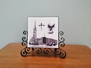 Vintage Wrought Iron Scroll Letter Rack with Coventry Cathedral Tile