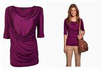 NWT $80 Designer SPORTSCRAFT Wool Tencel Wrap Drape TOP Slate Berry S M L XL XXL