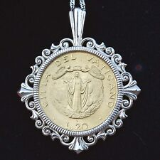 1987 Vatican 20 Lire Coin Assumption of Mother Mary Into Heaven Silver Necklace
