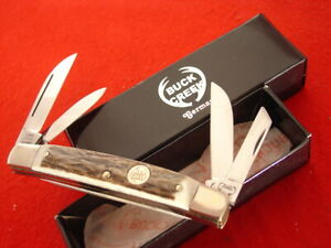 "Buck Creek Germany 3-3/4"" Genuine Stag 4 Blade Congress Knife MINT"
