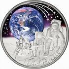 Niue 2022 Earth BLUE MARBLE Apollo 17 Moon Module $1 Oz Silver Prf—MINTAGE 750