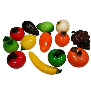 Vintage 13-piece Glass Full Size Fruit And Vegetable Decorations Home Décor