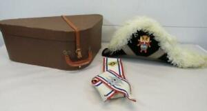 Knights of Columbus 4th Degree White Ostrich Feather Chapeau Hat W/Sash and Case