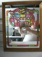 Vintage Ronrico Rico Rum Bar Mirror Wood Frame