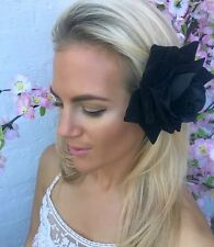 Black Velvet Big Flower Corsage Clip Slide Choochie Choo Bride Bridal Wedding