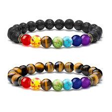8mm Lava Tiger Eye Anxiety Bracelet 2Pcs Oil Stone Meditation 7 Chakras Bracelet