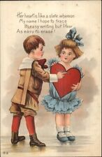 Valentine - Little Boy & Girl HER HEART IS LIKE A SLATE c1915 Postcard