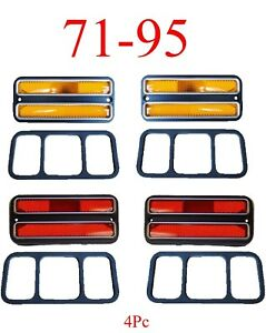 71 95 Chevy Van 4Pc Deluxe Amber & Red Side Lights G10 G20 G30 GMC Front, Rear