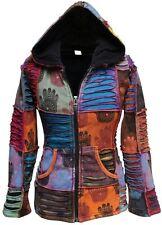 Womens Fleece Lined Hippie Henna Hand Hoodie Festival Winter Autumn Boho Jacket