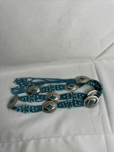 Vintage Sterling Turquoise Silver  Belt with Hand Designs 50 Total Inches Long