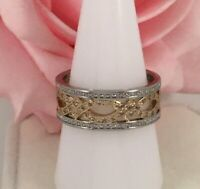 Vintage Art Deco Jewellery Gold Band Ring with White Sapphires Antique Jewelry 8