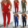 Womens Casual Solid Color Sling V-neck Rompers Sleeveless V-neck Loose Romper