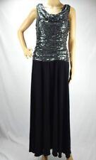 R & M Richards Black Sleeveless Sequin Embellished Evening Gown, Size 12 Petites