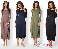 Ladies Flattering Oversized Round Neck Long Sleeve Tunic Tea Length Dress FM37