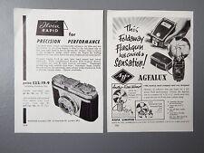 R&L Ex-Mag Vintage Advertisement x2 Iloca Rapid Camera & Agfalux Flash