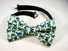 NEW FABRIC BOW TIE W/Adjustable Strap * BUTTERFLIES * Handmade USA FREE SHIPPING