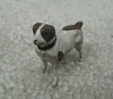 "Vintage 1930s Germany Putz Stick Legs White Brown Dog Figurine 1 1/2"" Tall"