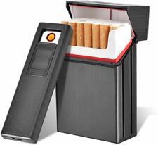 2in1 Aluminium Zigarettenetui Elektronisch Zigarettenbox mit Feuerzeug Aufladbar
