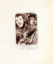 Homage to Elvis Presley, Music, Ex libris P.F. 1992 Etching  by Juri Polacek