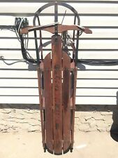 Vintage Fleetwing Racer Wood Metal Snow Sled Antique Auto Wheel Racing Company