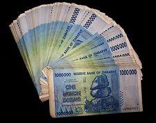 20 x Zimbabwe 1 Million Dollar banknotes-1/5 currency money bundle-rare