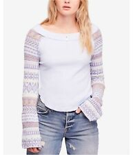 Free People Womens Fairground Thermal Blouse, Blue, X-Small