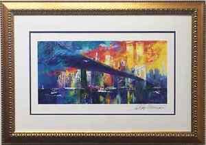 "LeRoy Neiman ""BROOKLYN BRIDGE"" Lithograph HAND SIGNED and NEWLY CUSTOM FRAMED"