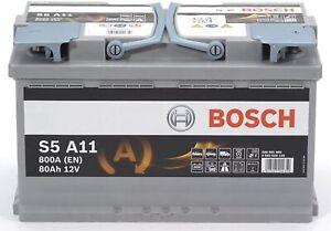 Batería Coche Bosch Silver 12V 80Ah AGM Arranque y Parada 800A S5A 11-0 092 S5A