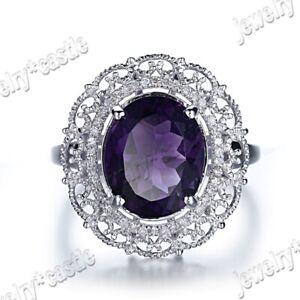 Solid 10K White Gold Oval 11x9mm Amethyst Halo SI Diamonds Filigree Ring Wedding