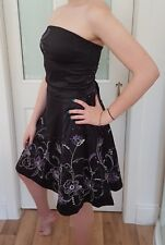Ladies strapless Dress. Black with detail. Soft lace lining. Jane Norman Size 12