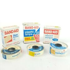VTG Lot of 6 Metal Band-Aid Tins Boxes Hinged Lids Johnson & Johnson Tape Roles
