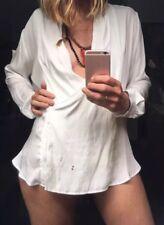 Mela Purdie White Technical Poly Wrap Blouse Top New Size 14