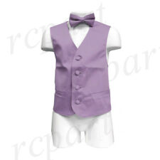 New Boy's Kid's formal Tuxedo Vest Waistcoat & bowtie lavender US size 2-14