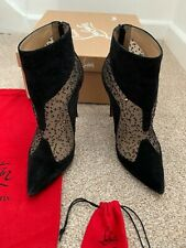 Christian Louboutin Papilloboot 100 embellish mesh suede boots shoes UK5US7EU38
