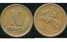 LITUANIE 10 centu 1991   anm