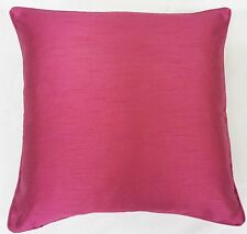 "2 X FILLED FUCHSIA PINK PLAIN FAUX SILK 18"" CUSHIONS"