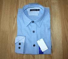 NWT Mens Nautica Heathered Blue LS Long Sleeve Button Up Dress Shirt Sz L Large