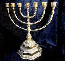 EBRAICO 7 BRACCI SUPPORTO CANDELA Hebrew 100% in ottone Ebraico Menorah 34cm